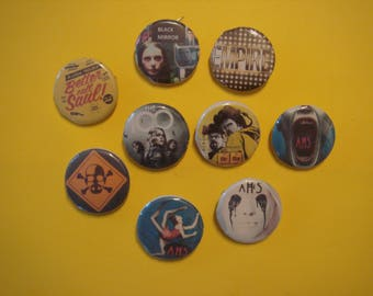 set of 3 badges: American horror story, the 100 black mirror, Heisenberg, empire, better call saul