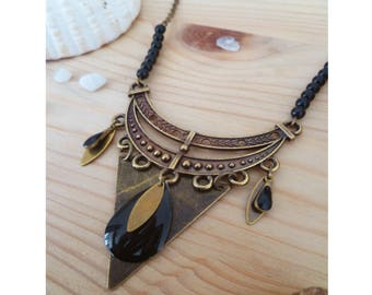 GOUANE ▷ ethnic necklace bronze and black fashion bib! (style: Bohemian, romantic, hippie, fantasy)