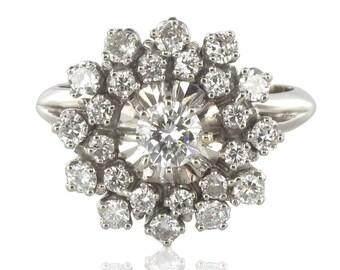 Retro diamond ring white gold