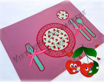 Kids Placemat , Montessori Practical Life , Fabric Placemat , Table Mat , Lunch Mat  , Learning Toys , Place Setting , Kids Gift