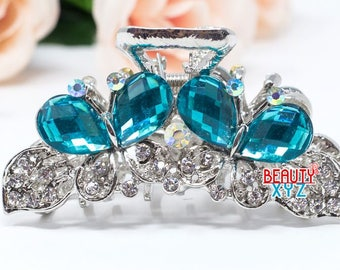 New blue Crystal Metal Butterfly Hair Claws Pins Clips