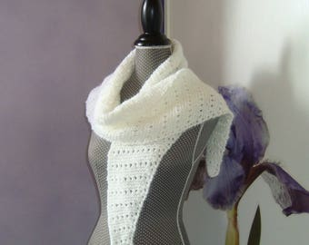 Stitch wool fancy wedding white shawl stole Schawlette