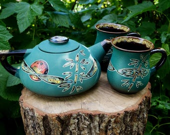 Gift for couple Ceramic teapot and tea cups Gifts for parents Tea gift set Green tea set Kitchen decor Ceramic tea set Pottery and ceramics