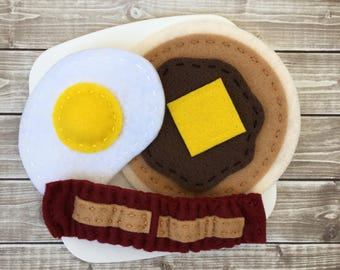 felt food pancake and egg breakfast, felt bacon and pancake, play food pancake, pretend play breakfast, felt play kitchen