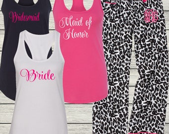 Ladies Pajama Pants and Tank for Bachelorette Party - Cruise - Wedding - Birthday - Bridal Party - Beach - Monogrammed Christmas