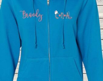 Monogrammed Ladies/Unisex Full-Zip Hooded Sweatshirt Nurse CNA Certified Nursing Assistant Customized Personalized XS - 5XL Jacket