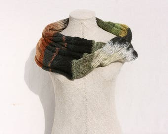 Black Olive Green mohair knit Infinity Scarf Wrap striped chunky scarves Evening Shawl handmade fashion scarfs - Frozen Pond Ice