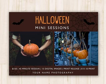 Halloween Mini Sessions Template - Photography Fall Minis, Marketing Booking Ad, Halloween Photoshop PSD Template - *INSTANT DOWNLOAD*