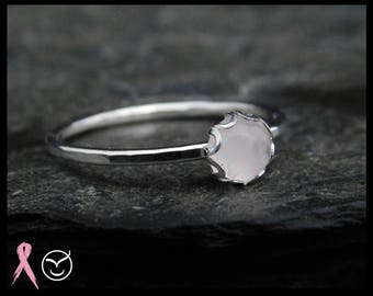 Size 7 - Rose quartz ring, sterling silver (0.925), 5mm, filigree setting. Thin ring, minimalist. Donation to Breast cancer research. 256