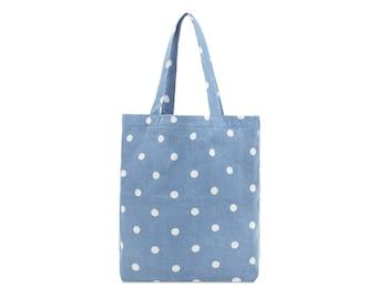 Cotton Tote bag - Denim bag - Polka dot - Ladies Casual bag - Fabric Market bag - Beach bag- Zip pocket bag- Woman bag- Shoulder bag- Girl