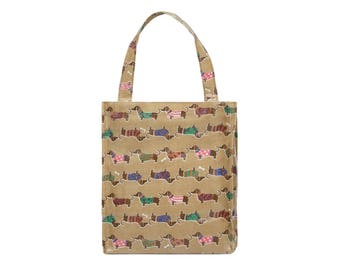 Oilcloth lunch bag for women - Small Reusable bag - lunch bag for kids - Ladies toiletry bag- small Waterproof bag- Dashchund sausage dog
