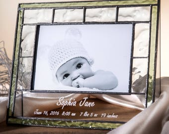Personalized Baby Picture Frame Pale Green Stained Glass Photo Frame Engraved Keepsake Gift Baby New Parents Grandparents Pic 389-46H EP528