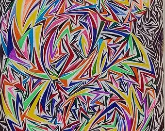 Original Abstract Drawing, Abstract Art, Geometric Art, Geometric Abstract, Original Art