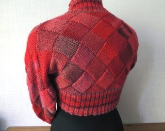 Ready to Ship:Knitted Red Shrug, hand knitted shrug, knit shrug, knit bolero, wool shrug, Lsize shrug, warm cozy shrug bolero, red knit srug