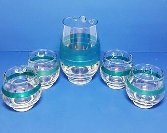 Vintage Anchor Hocking Small Juice Set, Pitcher & Four Glasses