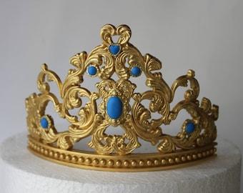 100% Edible fondant gum paste  Princess Tiara Cake girl birthday party gold crown tiara