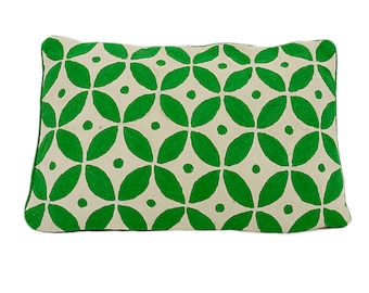 Handmade Kashmir Wool Cushion Cover in Green 40cm x 60cm with or without insert