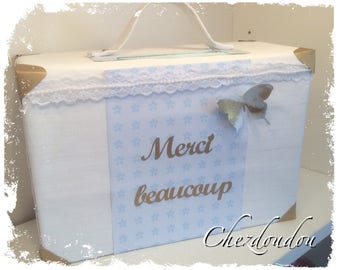 Urn baptism in the form of a small suitcase in shades of white gold and blue to order and customize
