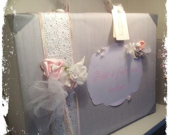"""Wedding urn shaped suitcase romantic gray and pink powder """"bridal bouquet"""""""