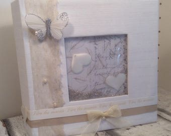 """Square wedding album with window shaker box very romantic """"butterfly"""""""