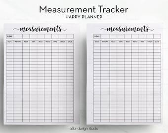 Measurement Tracker, Happy Planner, Fitness Planner, Printable Planner, Health Tracker, Weight loss chart, Fitness Journal, MAMBI Planner