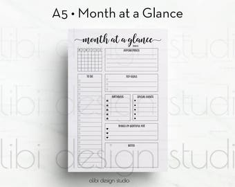 Month at a Glance, A5 Planner Inserts, Monthly Planner, Planner Refill, A5 Filofax, kikki K Large, A5 Inserts, Planner Printable, To Do List