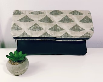 Fold Over Clutch-Genuine Leather with luggage stitch- Zipper Clutch, gift for her,- day- evening