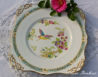 Tuscan, England: Stunning fine bone china plate with colorful flowers and bird