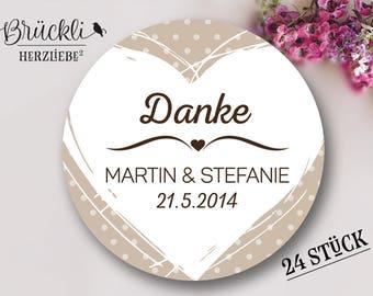 Stickers, wedding 'thank you' (heart), wedding decor, wedding / Thanksgiving