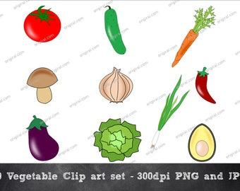 Vegetables Clip art, Veggie Set, Vegetable Illustrations
