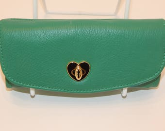 Malachite Leather Wallet with Multiple interior pockets and card slots; READY TO SHIP