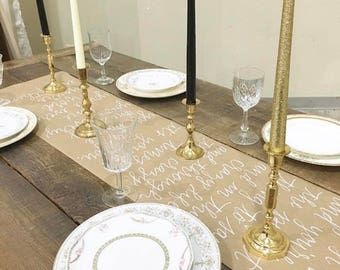 Custom Handlettered Calligraphy Kraft Paper Table Runner - Special Event Table Runner