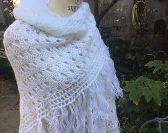 White mohair wool shawl