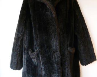 Vintage 1970s Faux Fur Jacket, Winter Fur Coat, Brown Faux Fur. Size 14-18 Medium- Large
