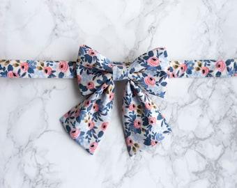 Girl Dog Collar, Rifle Paper Co, Blue Flower Floral Dog Collar, Feminine Collar, Rose Gold Hardware, Girly Cat Collar, Wedding Dog Collar