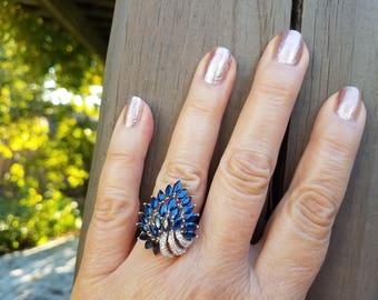 Sapphire /Diamond 18K Gold Ring Size 6.75