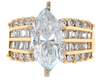 5.00 Carat CZ Engagement Ring 14K Yellow Gold