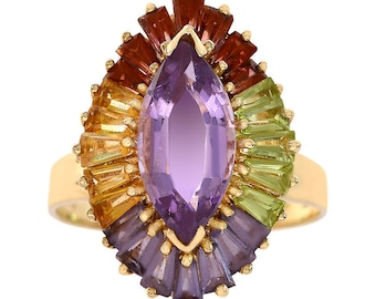 5.50 Carat Multi Color Amethyst Vintage Cocktail Ring 14K Yellow Gold