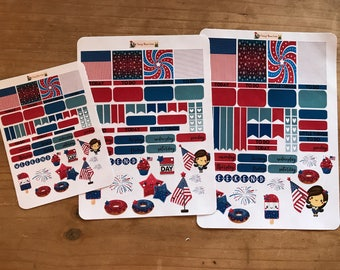 Fourth of July, patriotic, red, white and blue planner stickers. Available in TN, pocket, personal, mini happy planner, classic happy planne