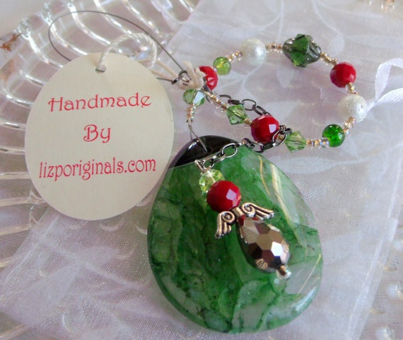 Christmas gemstone ornament - green druzy tree agate pendant -  angel  bead charm -  window ornament - present  - teachers gift