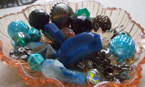 Mixed bead grab bag, crystal - acrylic bead soup - blue agate pendants -  gem stone beads, metal - seed bead balls -pink mix  - polymer clay