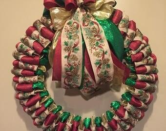 Christmas ribbon wreath, front door wreath