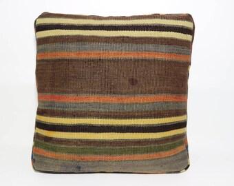 """Puff Kilim Pillow Throw Pillow 19""""x 19"""" x 3 Anatolian Kilim Pillow Turkish Kilim Pillow Bohemian Kilim Pillow Bed Pillow Cushion Cover"""