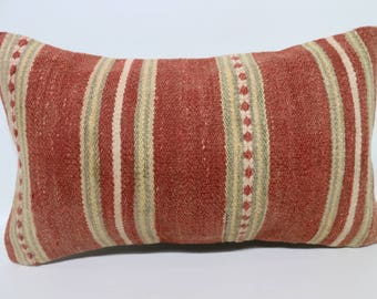 Red Striped Kilim Pillow Turkish Kilim Pillow 12x20 Lumbar Kilim Pillow Anatolian Kilim Pillow Boho Pillow Cushion Cover SP3050-1684