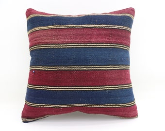 Red and Blue Striped Pillow 20x20 Pillows Cover Cushion Cover Kilim Pillow Tribal Sham Turkish Pillows Green Throw Pillows Large SP5050-2708