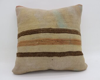 Brown Striped Pillow 20x20 Large Turkish Kilim Pillow Fawn Kilim Pillow Throw Pillow Boho Cushion Cover Pillow Orange Pillow SP5050-2777