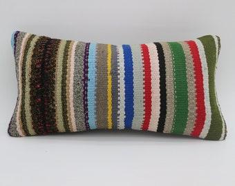 10x20 Kelim Kissen Pillow Striped Kilim Pillow Multicolored Pillow Throw Pillow 10x20 Kilim Pillow Turkish Pillow Sofa Pillows  SP2550-1719