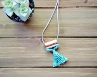 Minimalist Copper Tassel Necklace, Diffuser Necklace, Grey Tassel, Statement Necklace, Fashion Jewelry, Jewelry under 30, Tassel Jewelry