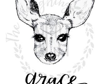 Custom nursery wall art, deer, digital download, forest friends, boho nursery, baby shower gift
