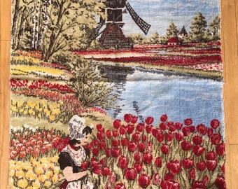 Vintage windmill and girl picking tulips rug wall hanging